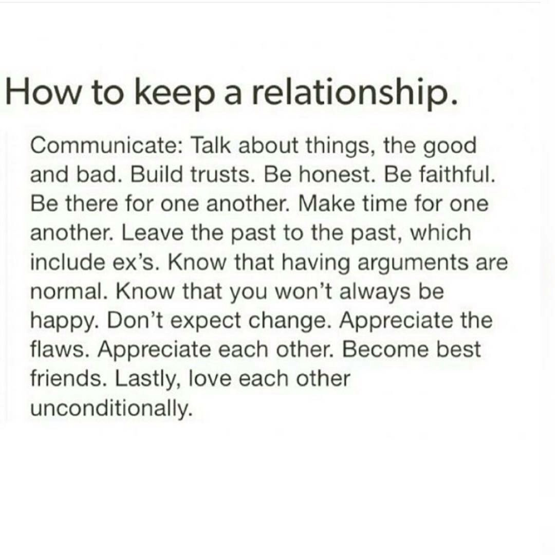keep good relationship going